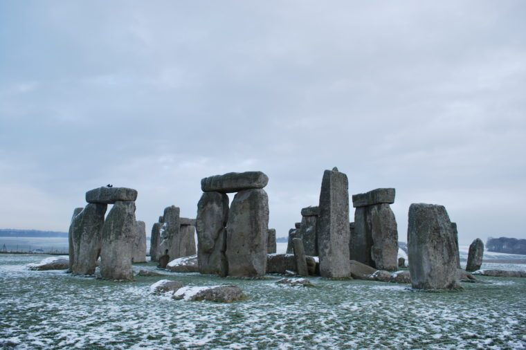 Stonehenge in the winter with snow