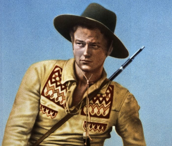 Editorial use only. No book cover usage. Mandatory Credit: Photo by Fox Films/Kobal/Shutterstock (5878022f) John Wayne The Big Trail - 1930 Director: Raoul Walsh Fox Films USA Lobby Card/Poster Western La Piste des géants