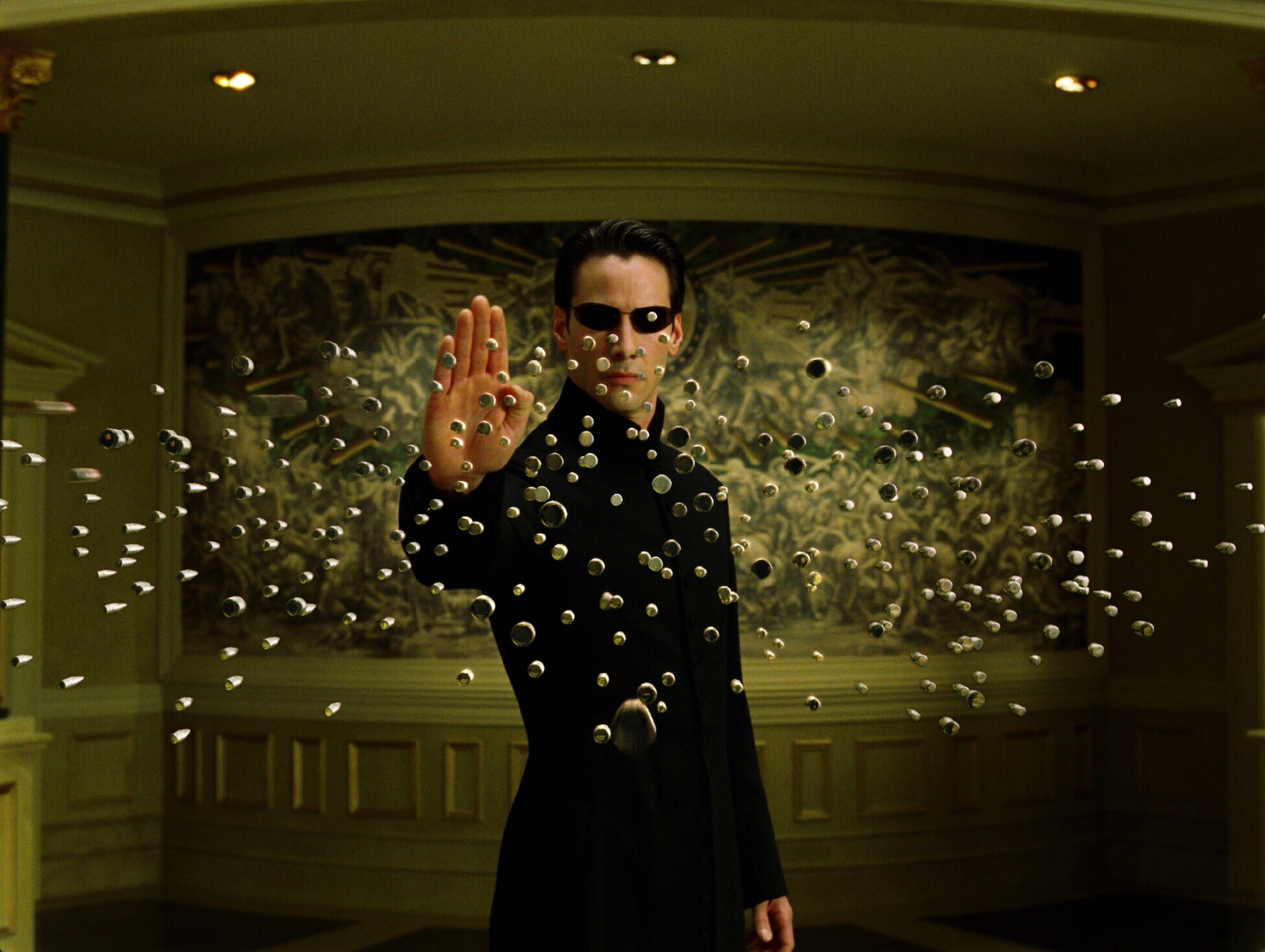Editorial use only. No book cover usage. Mandatory Credit: Photo by Warner Bros/Village Roadshow Pictures/Kobal/Shutterstock (5885917bh) Keanu Reeves The Matrix Reloaded - 2003 Director: Andy & Larry Wachowski Warner Bros/Village Roadshow Pictures USA Scene Still Scifi