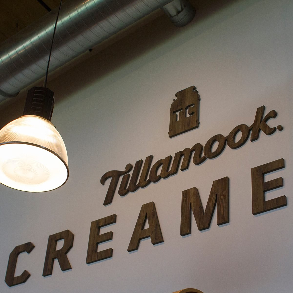Tillamook logo in the cafe at the Tillamook Creamery