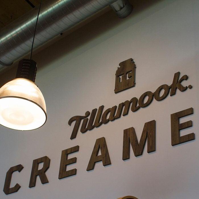 Tillamook logo in the cafe at the Tillamook Creamery