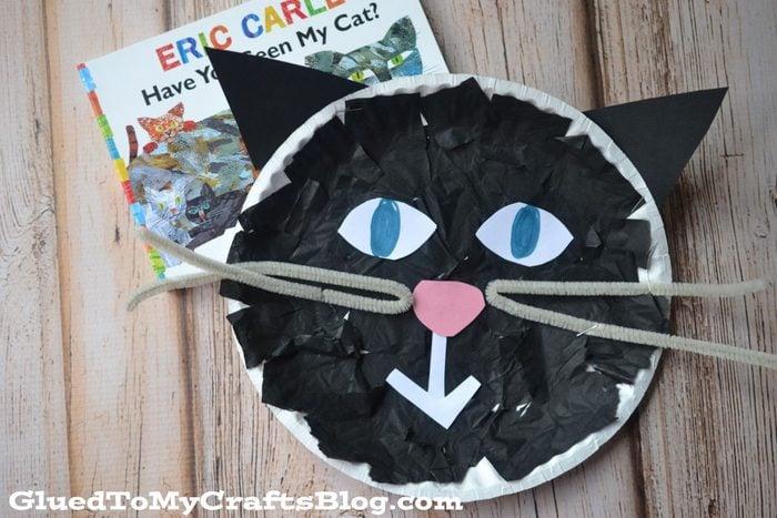 tissue paper black cat diy halloween craft for kids