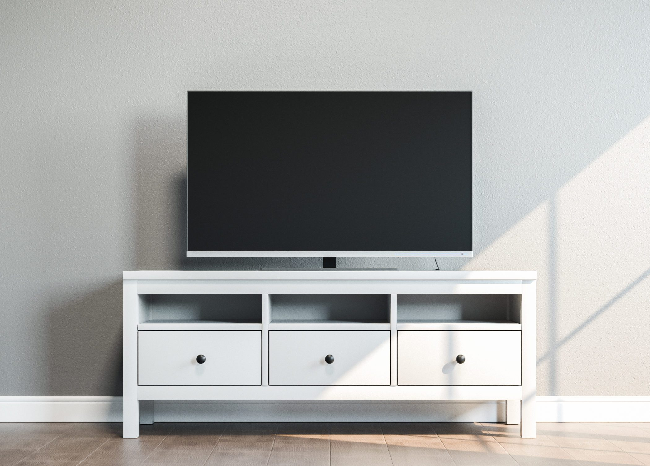 TV on stand in bright room 3D illustration