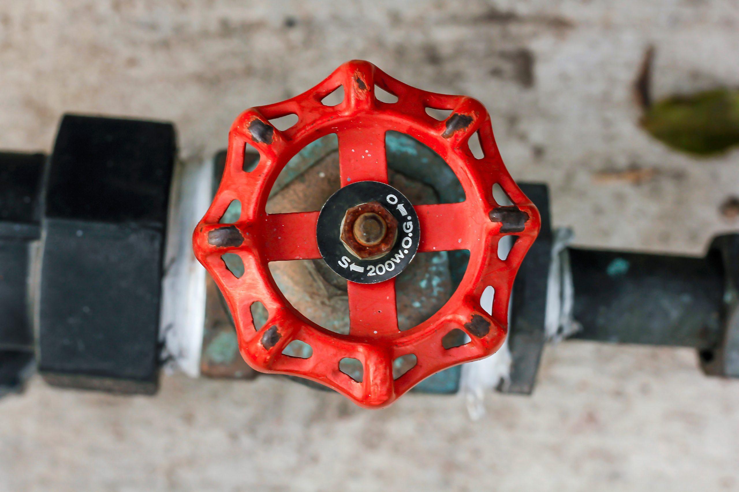Water shut off valve Red on the floor