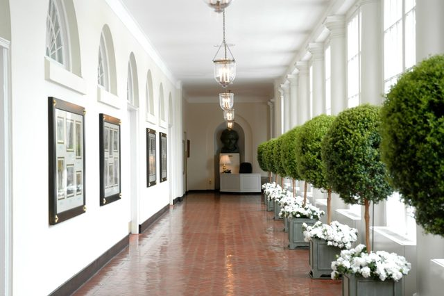 South corridor of the White House in Washington D.C.