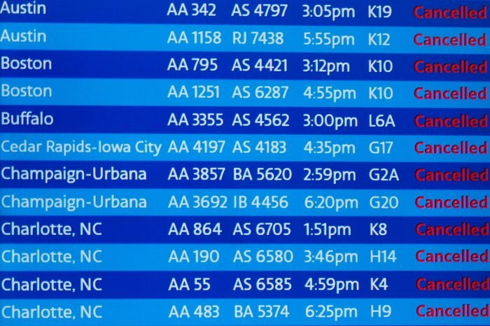 A digital board shows flight cancellations at Terminal 3 at O'Hare International Airport in Chicago, Illinois, USA, 30 January 2019. At Chicago airports, more than 1,700 flights were cancelled on Wednesday, according to the city's Aviation Department due to coldspell polar vortex in US Midwest. 30 Jan 2019