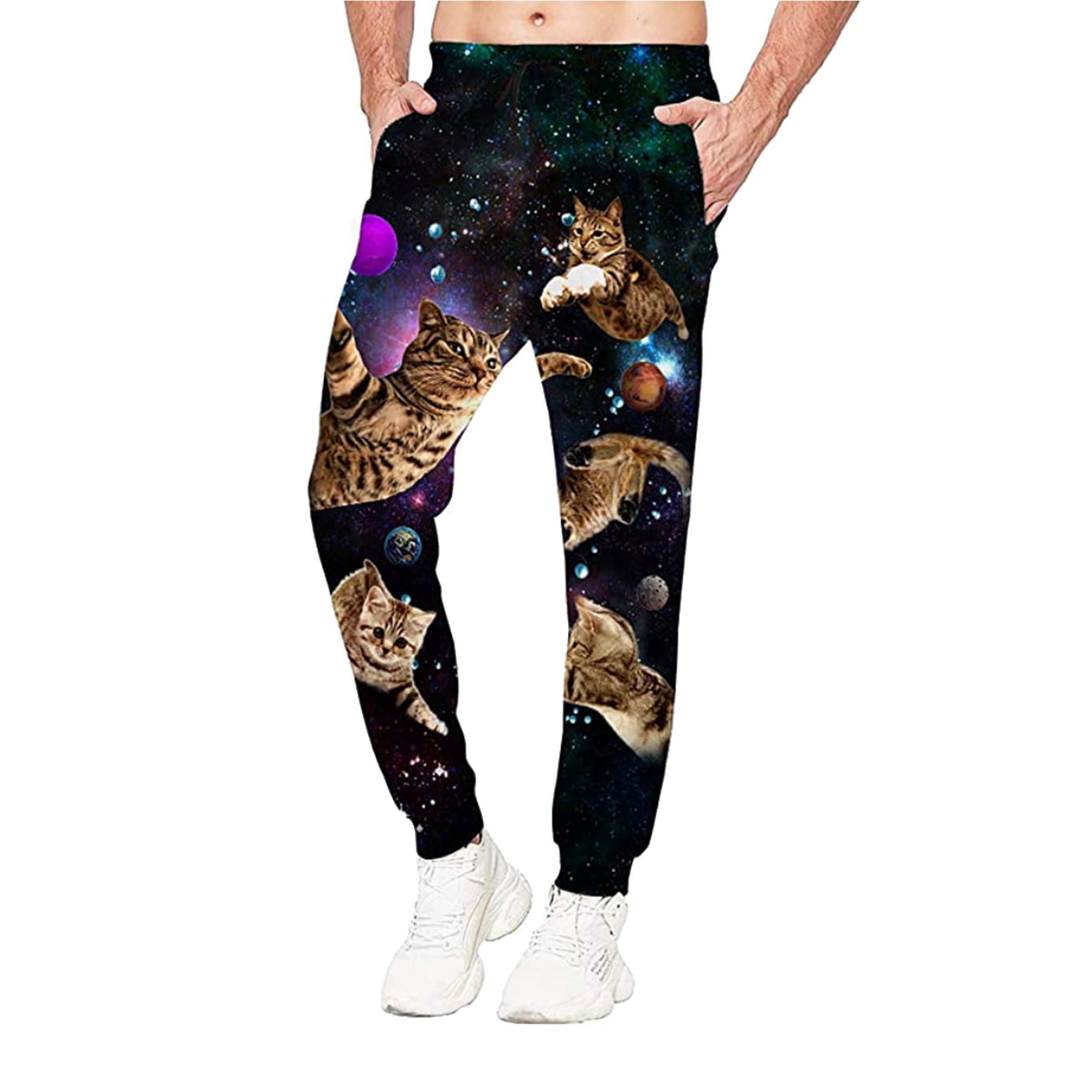 3D Galaxy Cat Jogger Pants