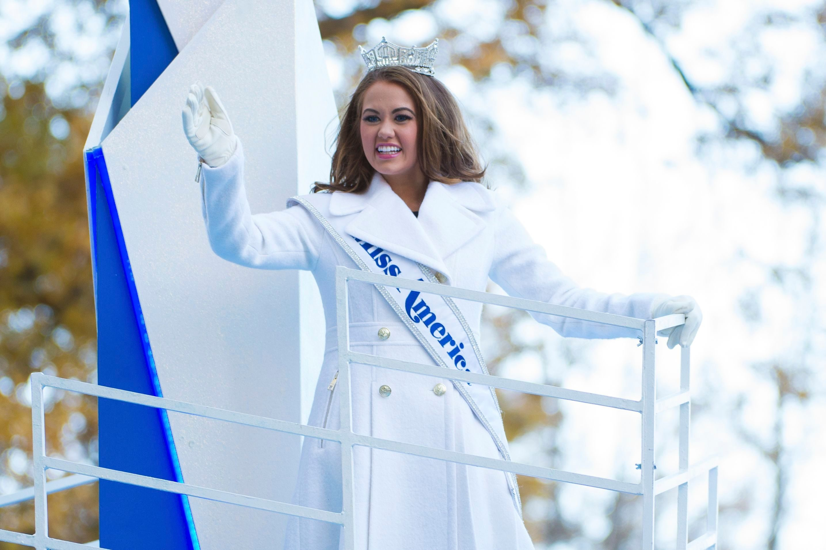 Mandatory Credit: Photo by Invision/AP/Shutterstock (9238261dx) Miss American 2018, Cara Mund, is seen at the 91st Macy's Thanksgiving Day Parade, in New York 2017 Macy's Thanksgiving Day Parade Performances, New York, USA - 23 Nov 2017