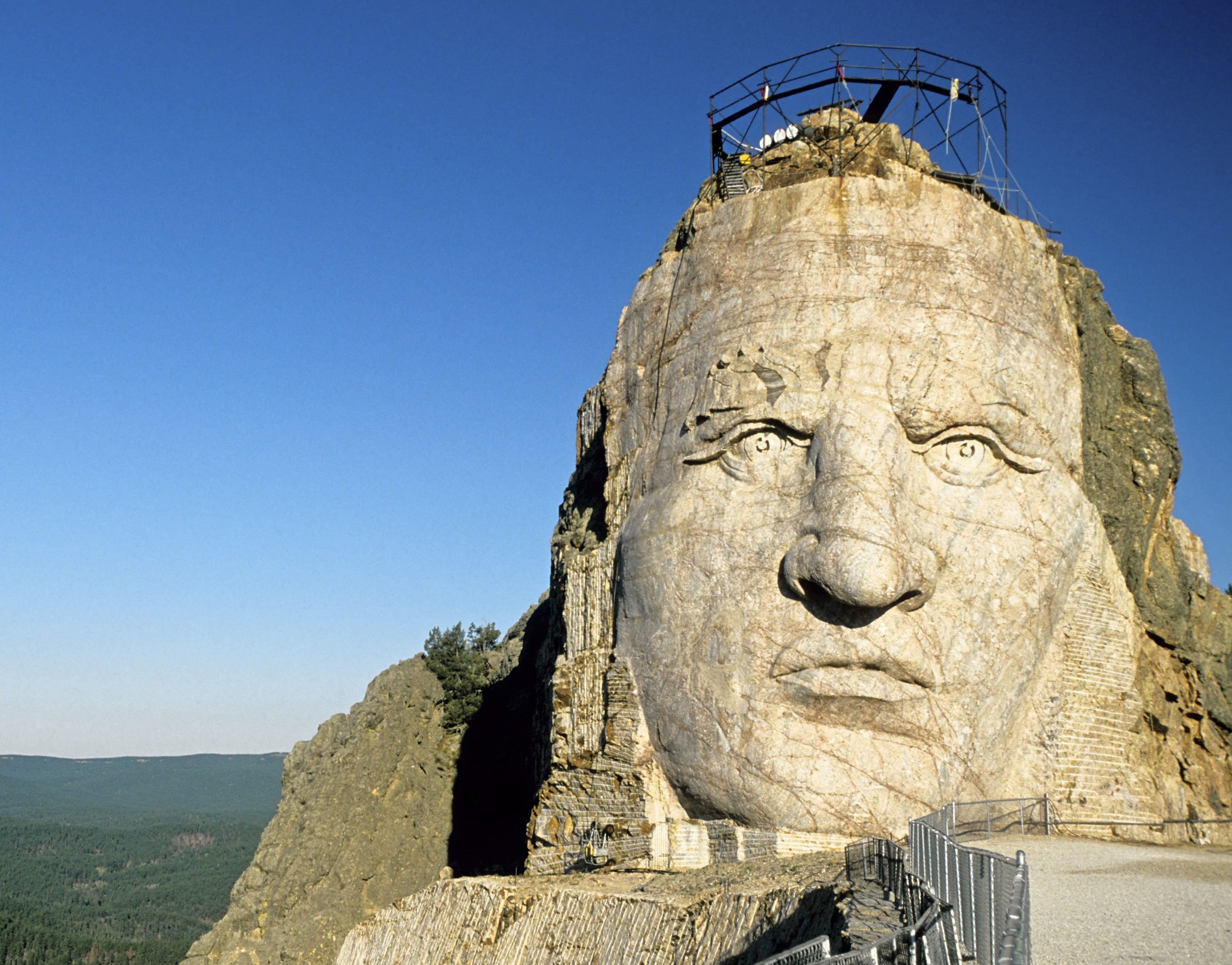Mandatory Credit: Photo by Patrick Frilet/Shutterstock (435790e) The sculpture of the warrior Crazy Horse, who led the Lakota tribe at the Battle of Little Bighorn in 1876. The Crazy Horse Memorial monument was carved out of Thunderhead Mountain on land considered sacred by some Native Americans and its sculpturing begun in 1948 by sculptor Korczak Ziolkowski. South Dakota, America. SOUTH DAKOTA, AMERICA