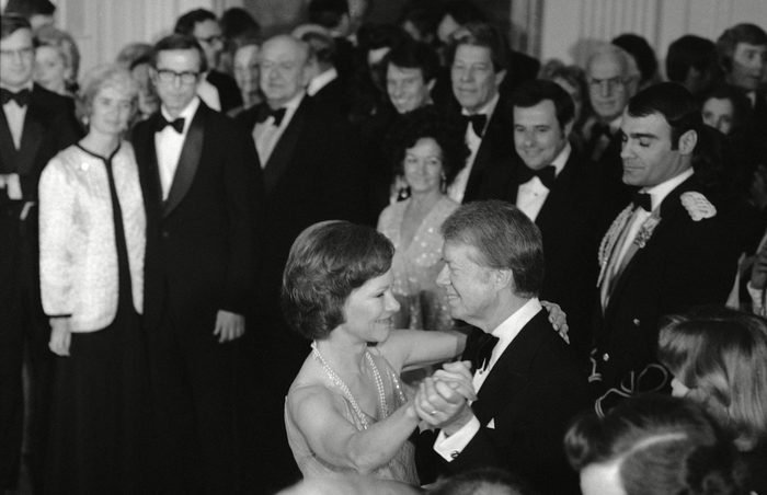 Mandatory Credit: Photo by Ira Schwarz/AP/Shutterstock (5958842a) President Jimmy Carter and first lady Rosalynn Carter share the first dance of the evening at the Congressional Christmas Ball at the White House in Washington, as guests look on Jimmy Carter, Washington, USA