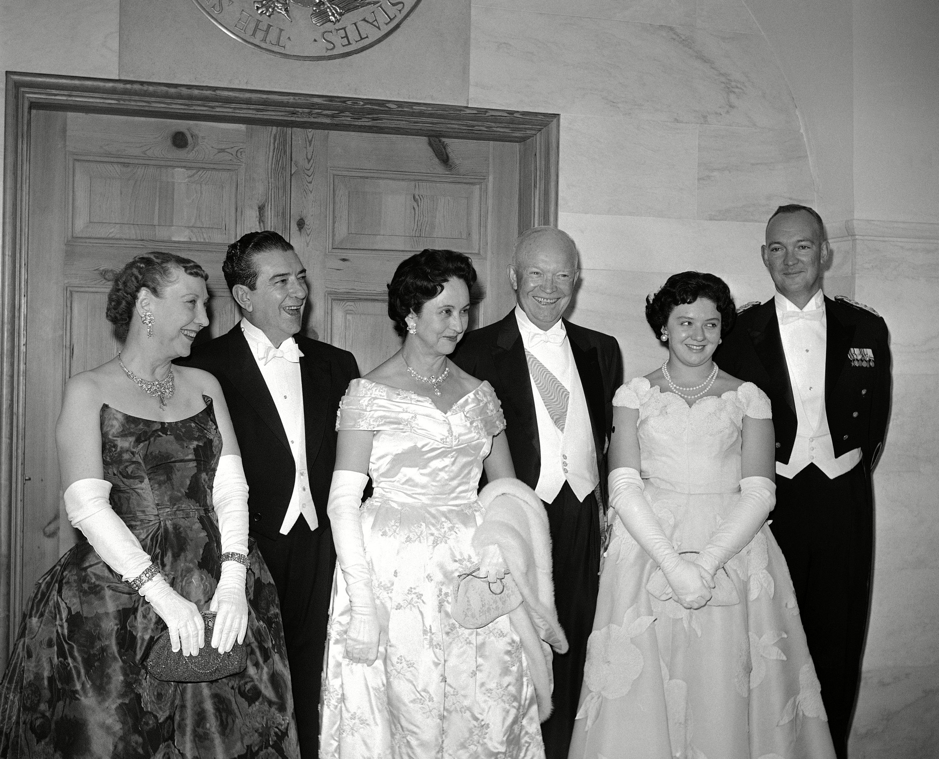 Mandatory Credit: Photo by William Smith/AP/Shutterstock (5967268a) Dwight Eisenhower, Adolfo Lopez Mateos, John Eisenhower Mexican President Adolfo Lopez Mateos, his wife and daughter, Eva, who arrived in Washington, on on an official visit, pose with the Eisenhower's prior to a formal dinner the same evening in the White House. Left to right, Mrs. Eisenhower, President Lopez Mateos and his wife, President Eisenhower, Miss Eva Lopez Mateos and Maj. John Eisenhower, son of President Adolfo Lopez Mateos with Dwight Eisenhower and John Eisenhower, Washington, USA