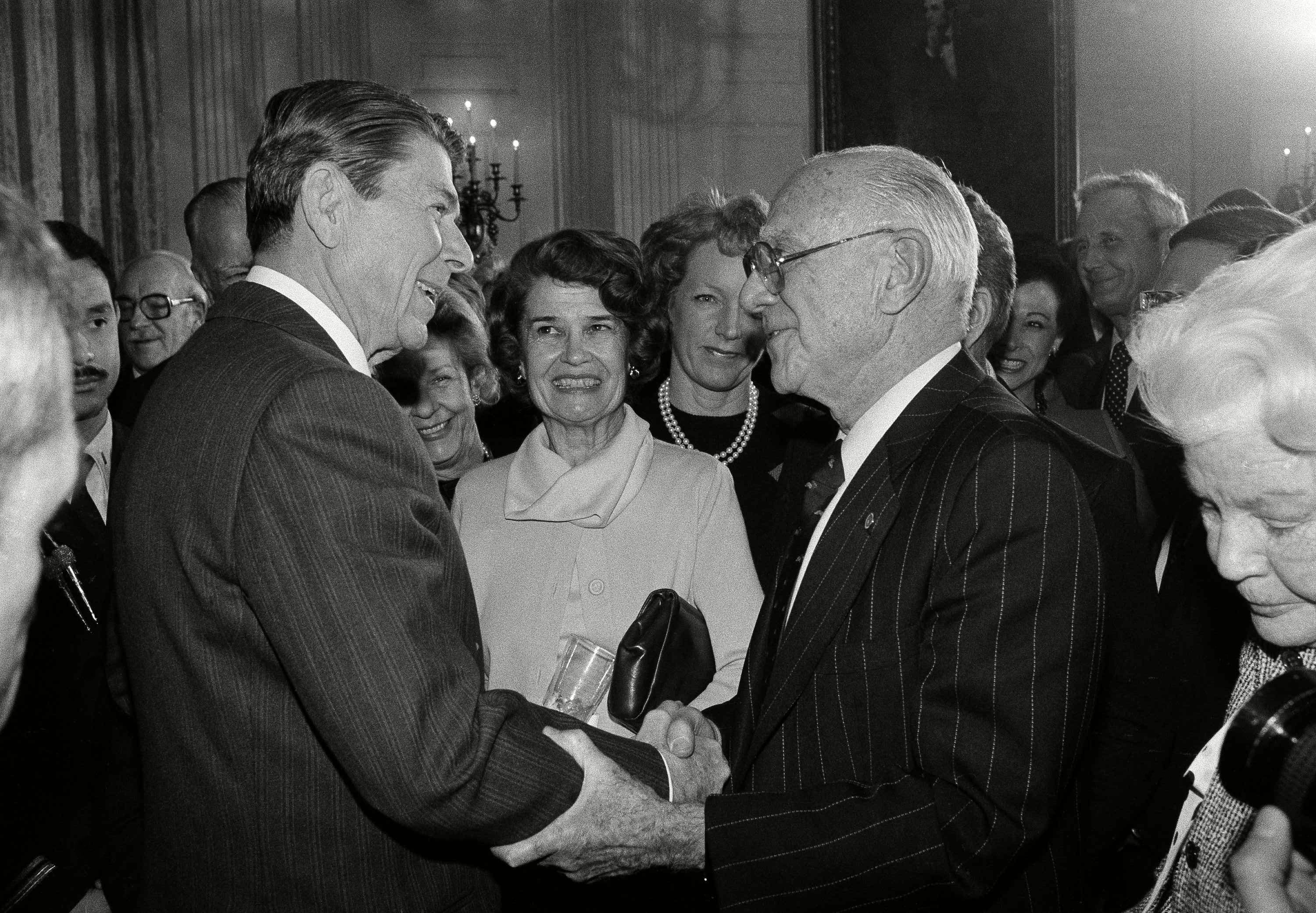 Mandatory Credit: Photo by Ira Schwarz/AP/Shutterstock (6010143a) President Reagan shakes hands with Sonny Werblin, owner of the New York Jets football franchise at the conclusion of a White House reception in Washington, on for the President's Council on Physical Fitness Thursday in the State Dining room Ronald Reagan, Washington, USA