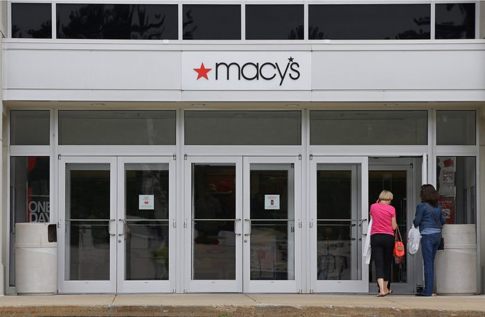 Mandatory Credit: Photo by Stephan Savoia/AP/Shutterstock (6092469a) Macy's Shoppers walk into a Macy's department store at the Hanover Mall in Hanover, Mass. Macy's is cutting up to about 4,800 jobs after disappointing holiday sales. The company also listed, which 40 stores it would close. It had announced it was closing stores in September Macys Sales, Hanover, USA