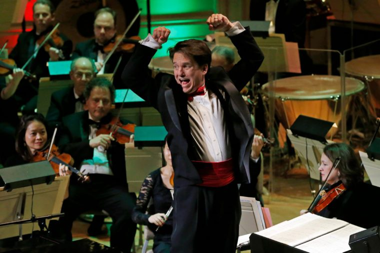 """Keith Lockhart Boston Pops Conductor Keith Lockhart leads the 31st annual """"A Company Christmas at Pops"""" at Symphony Hall in Boston 10 Dec 2014"""