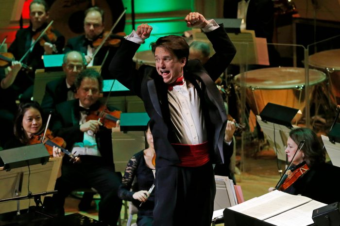 "Keith Lockhart Boston Pops Conductor Keith Lockhart leads the 31st annual ""A Company Christmas at Pops"" at Symphony Hall in Boston 10 Dec 2014"