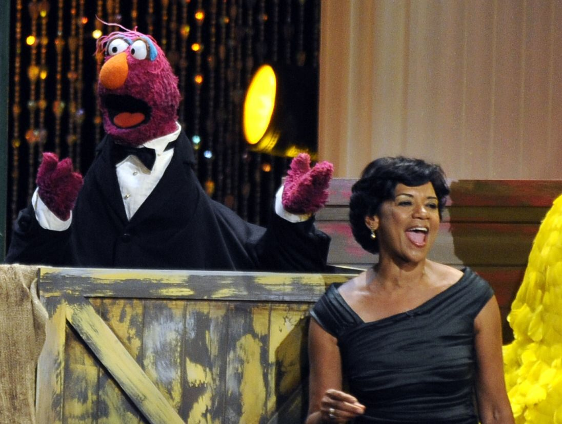 """Mandatory Credit: Photo by Chris Pizzello/AP/Shutterstock (6347968a) Sonia Manzano Actress Sonia Manzano, right, performs at the Daytime Emmy Awards in Los Angeles. Manzano, who has played the role of Maria on the groundbreaking kid show """"Sesame Street"""" since 1971, is retiring. Manzano broke the news at the American Library Association's annual conference Sesame Street Sonia Manzano, Los Angeles, USA"""