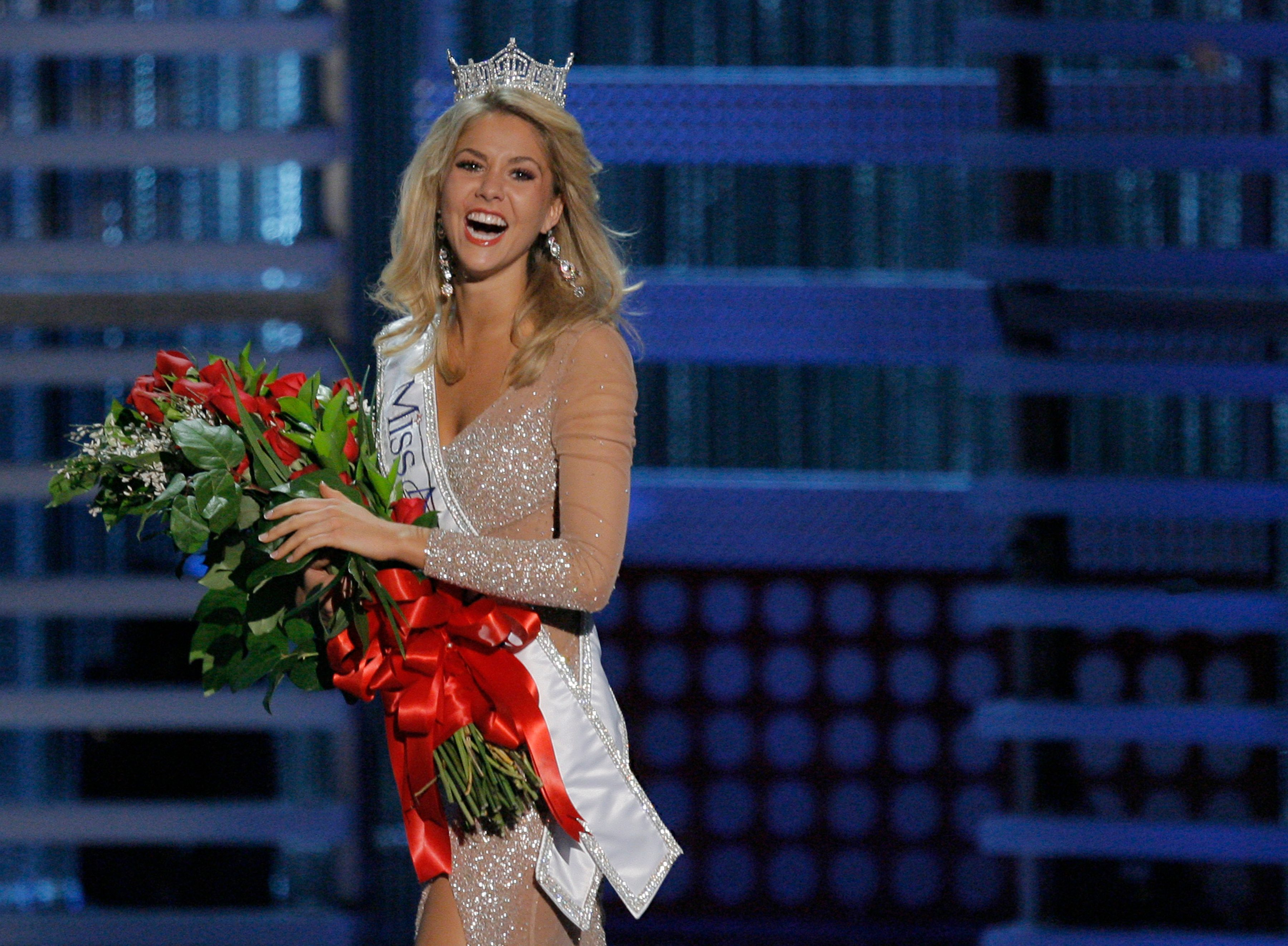 Mandatory Credit: Photo by Jae C Hong/AP/Shutterstock (6370308a) Kirsten Haglund Kirsten Haglund celebrates after being crowned Miss America 2008 during the Miss America Pageant at the Planet Hollywood hotel and casino in Las Vegas Miss America, Las Vegas, USA