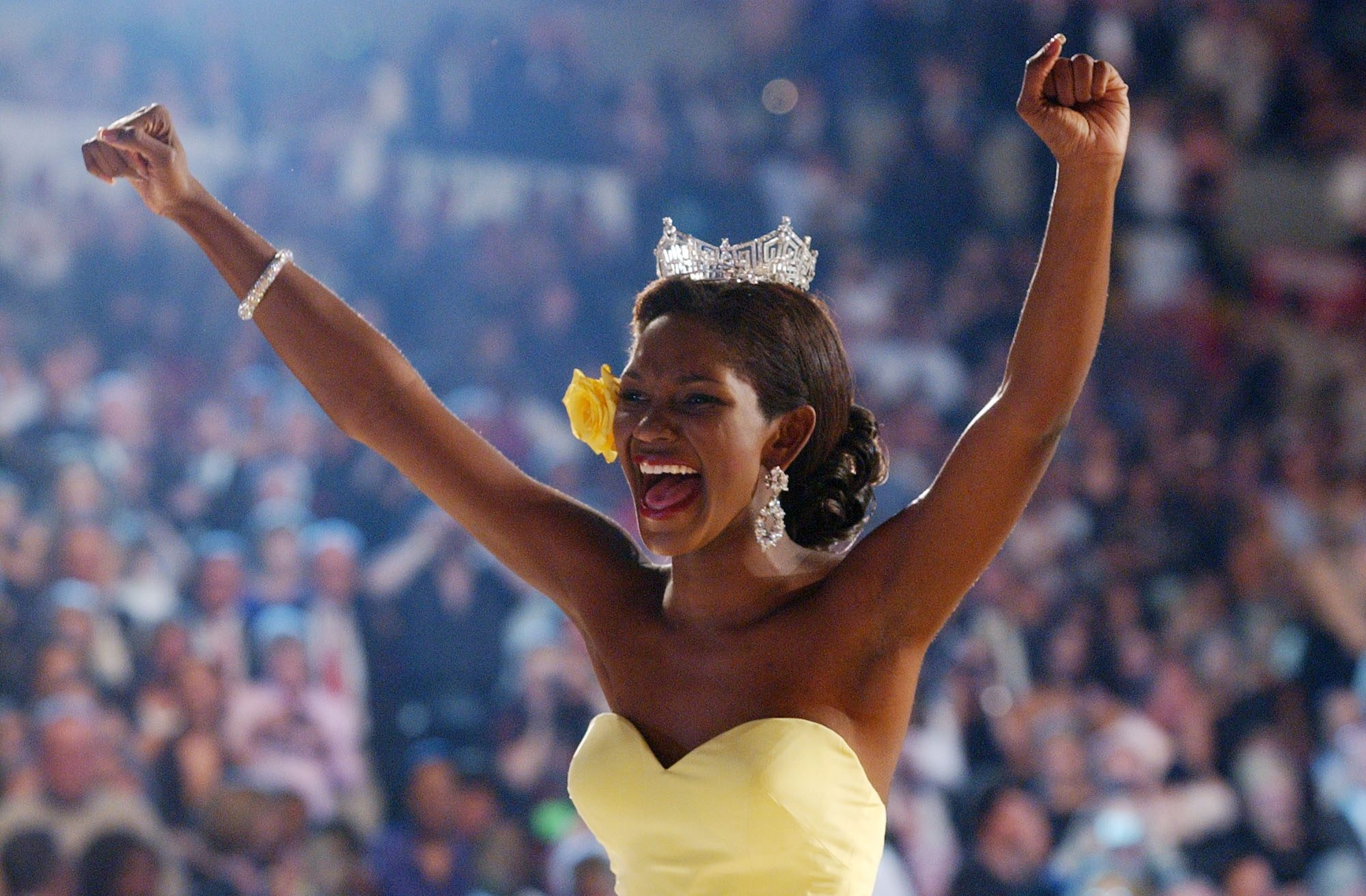 Mandatory Credit: Photo by Brian Branch-Price/AP/Shutterstock (6426397c) MISS AMERICA Miss America 2004 Ericka Dunlap reacts after she won the Miss America competition in Atlantic City, N.J MISS AMERICA, ATLANTIC CITY, USA