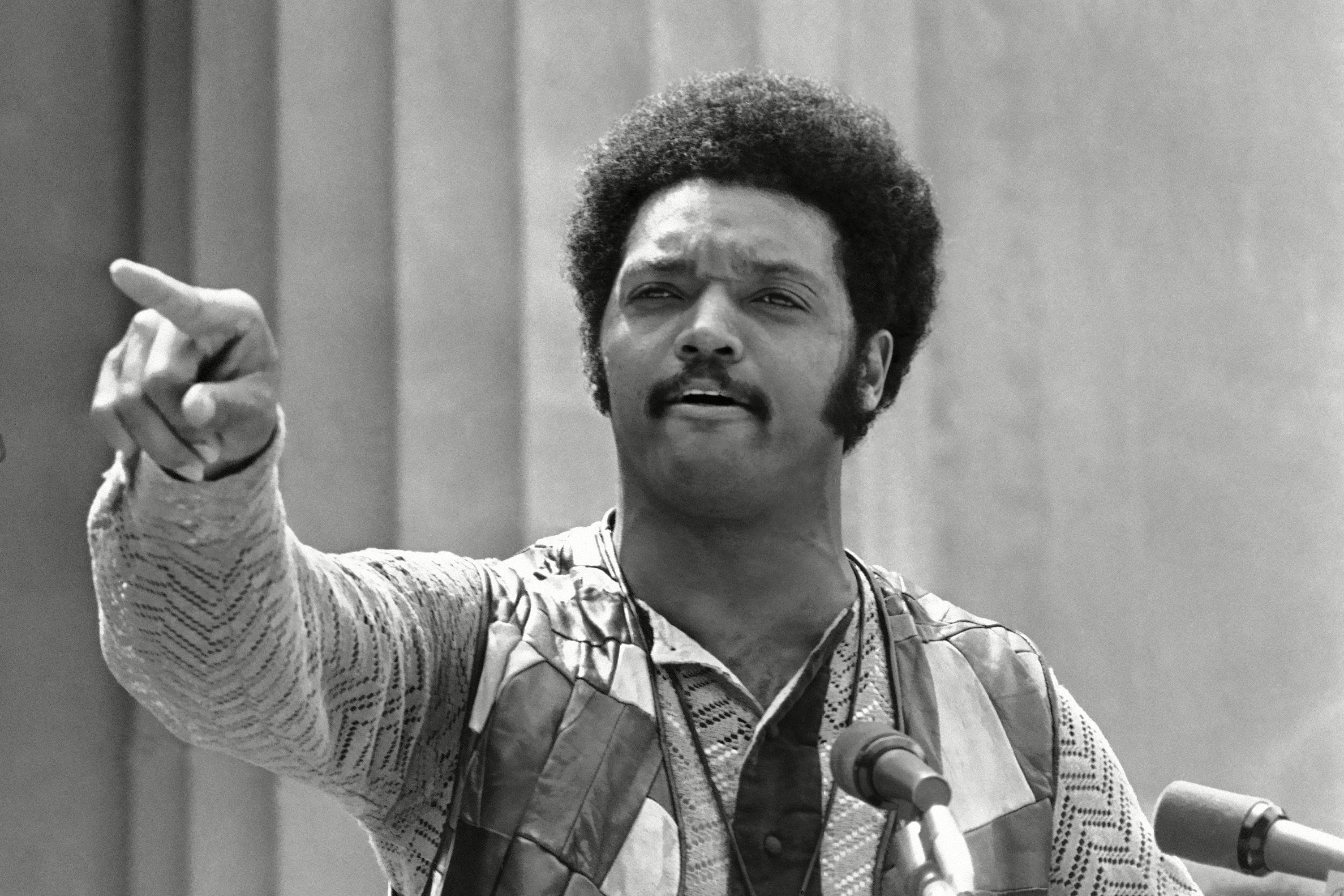 Mandatory Credit: Photo by Sal Veder/AP/Shutterstock (6634058a) Jesse Jackson of Southern Christian Leadership Conference speaks at a University of California rally at Greek Theater in Berkeley Jesse Jackson, Berkeley, USA