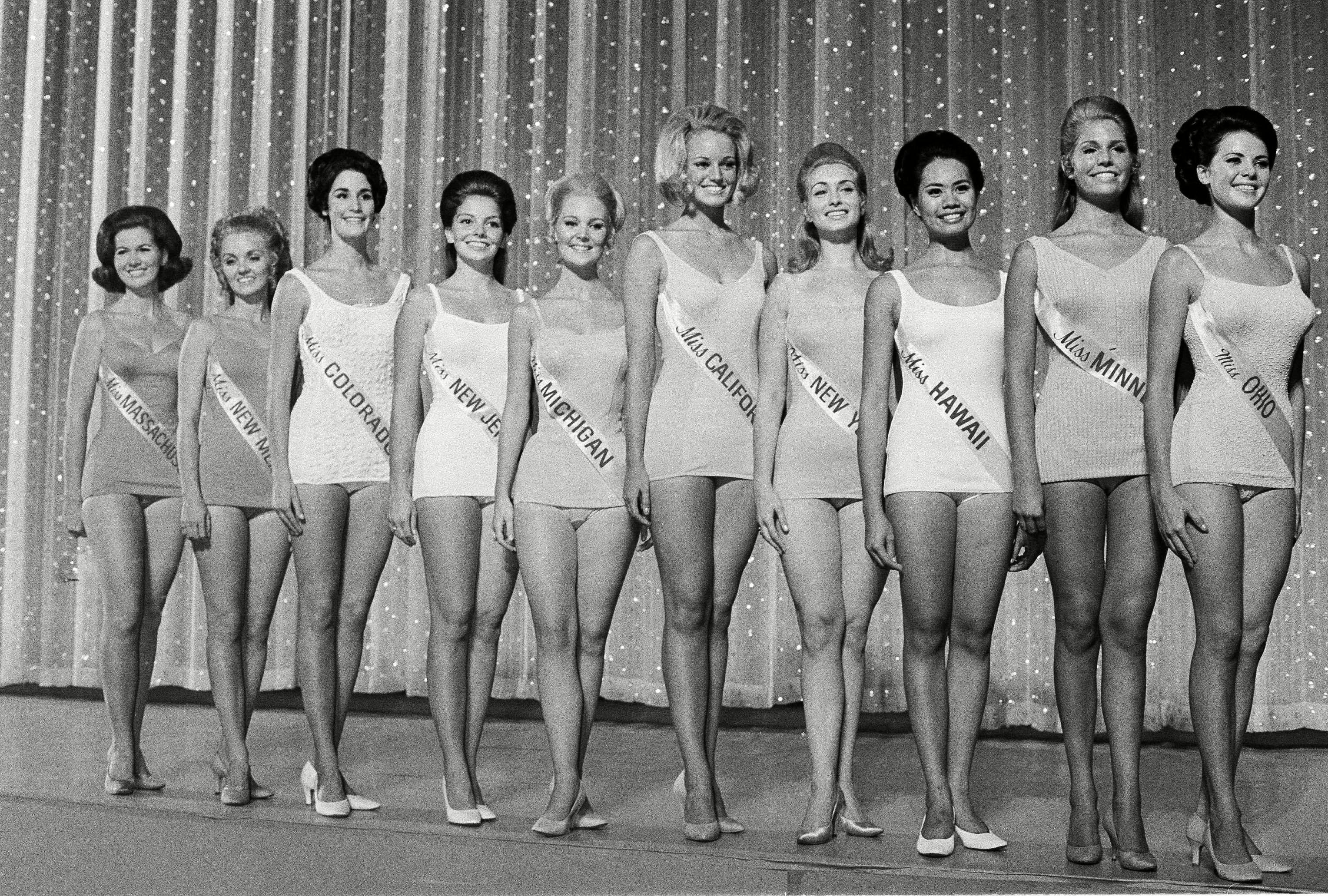 Mandatory Credit: Photo by Bill Achatz/AP/Shutterstock (6639187f) Pamela Anne Eldred, Susan Ellen Anton, Judith Mendenhall, Cheryl Carter, Kathy Baumann, Georgia Hossfeld, Pat Brummett, Adria Easton, Linda Trybus; Sheryl Akaka Ten semi-finalists of the Miss America pageant pose in their swimsuits in Atlantic City, N.J., . From left to right: Miss Massachusetts, Georgia Hossfeld; Miss New Mexico, Pat Brummett; Miss Colorado, Adria Easton; Miss New Jersey, Cheryl Carter; Miss Michigan, Pamela Eldred; Miss California, Susan Anton; Miss New York, Linda Trybus; Miss Hawaii, Sheryl Akaka; Miss Minnesota, Judy Mendenhall; Miss Ohio, Kathy Baumann Miss America Pageant, Atlantic City, USA