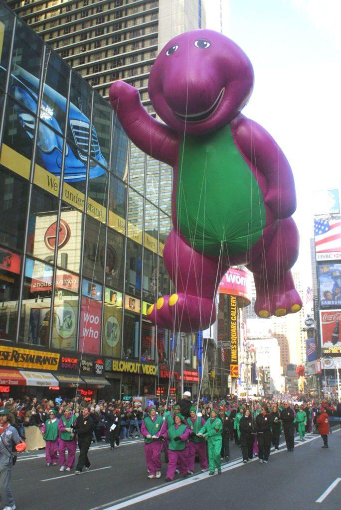 The Barney balloon thanksgiving day parade