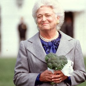 Mandatory Credit: Photo by Greg E Mathieson Sr/Mai/Shutterstock (9635159a) First Lady Barbara Bush received a delivery of broccoli from California growers as part of a larger donation to Washington, DC food banks. The presentation was made after President Bush stated he did not like broccoli. First Lady Barbara Bush received a delivery of broccoli from California growers, Washington DC, USA - 26 Mar 1990