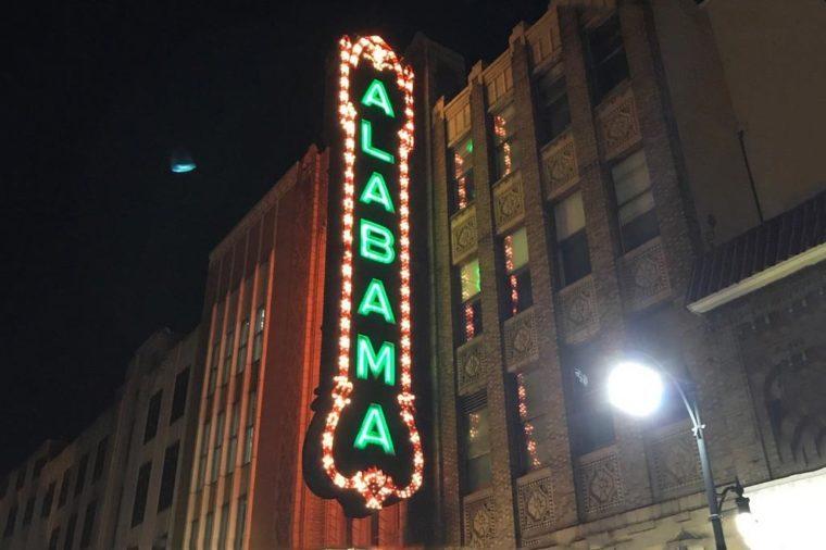 alabama theatre exterior and lights
