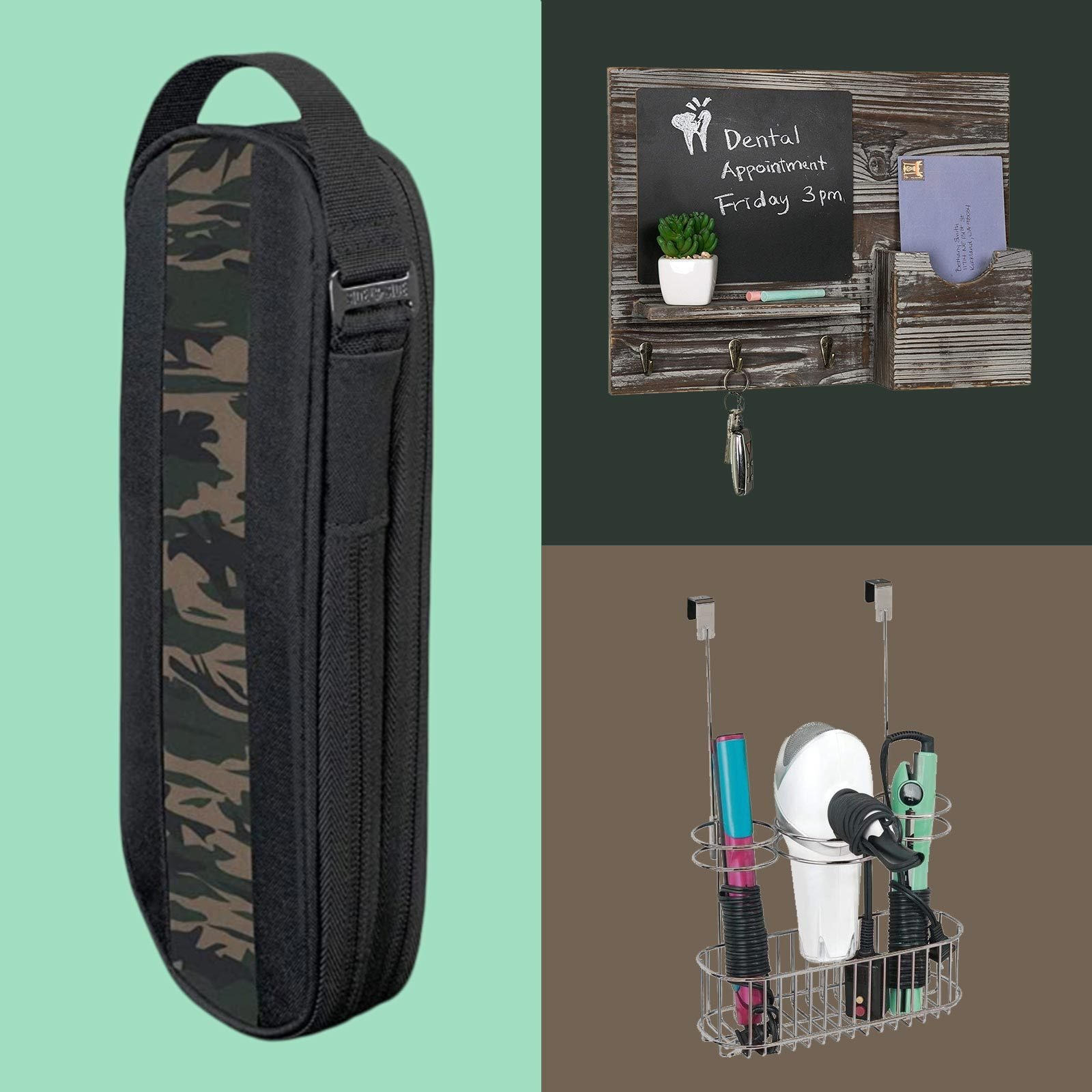 Three amazon products: a tech pouch for holding chargers, a chalkboard for a house entryway, and a rack for holding hair supplies