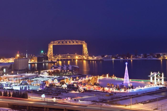 aerial shot of bentleyville lit up at night; duluth minnesota