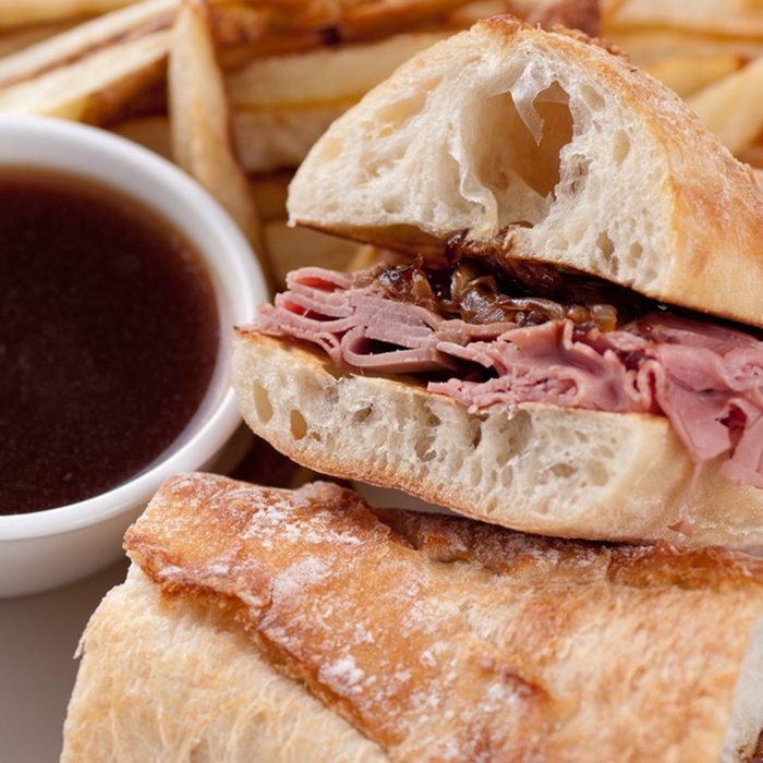 classic french dip au jus or beef dip with fries