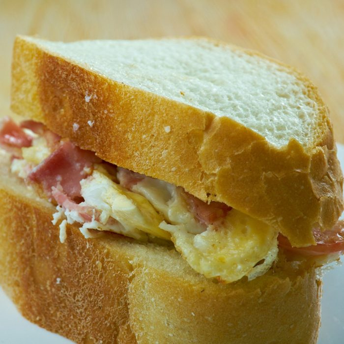 Denver sandwich consists of a Denver omelette - consisting of at least ham, onion, green pepper, and scrambled eggs