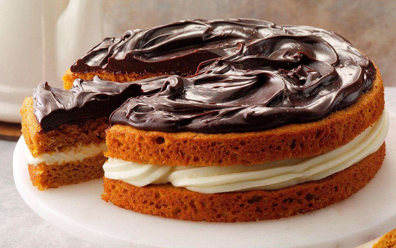 Ganache-topped pumpkin layer cake