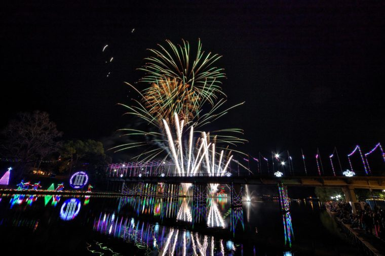 fireworks and lights celebrating christmas at natchitoches louisiana