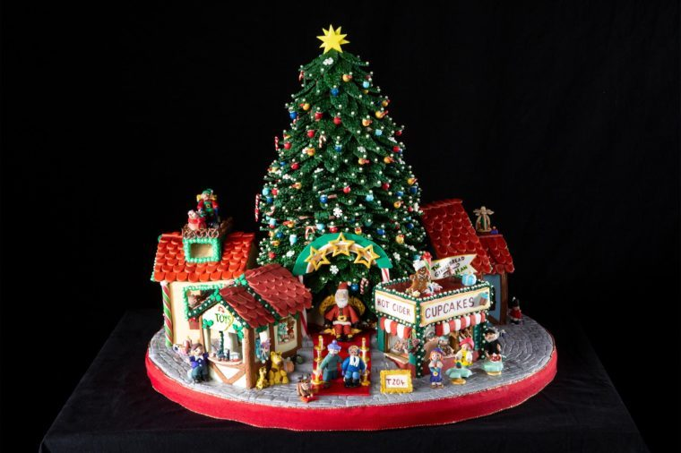 Christmas tree and shops made out of gingerbread