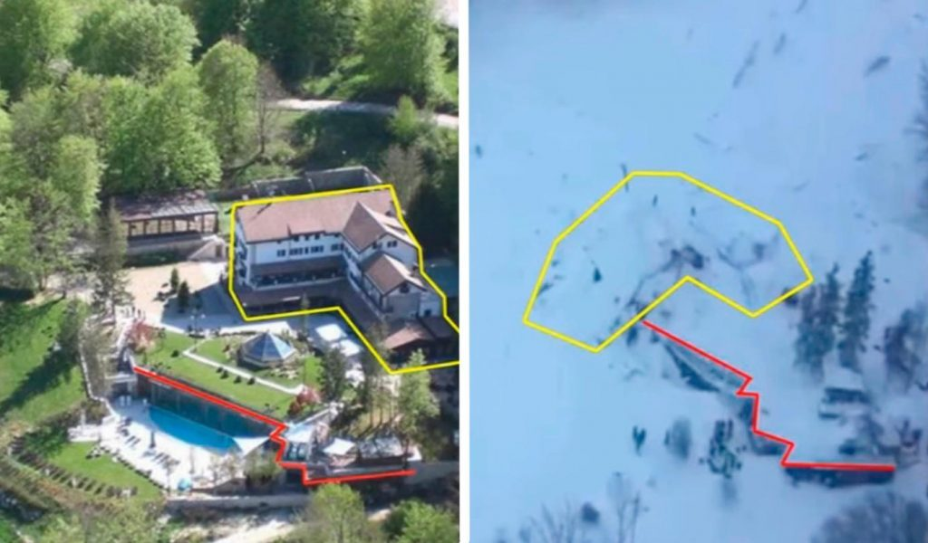 maps showing an aerial view of the property of the Hotel Rigopiano on a sunny day and after the avalanche, where the building should've been