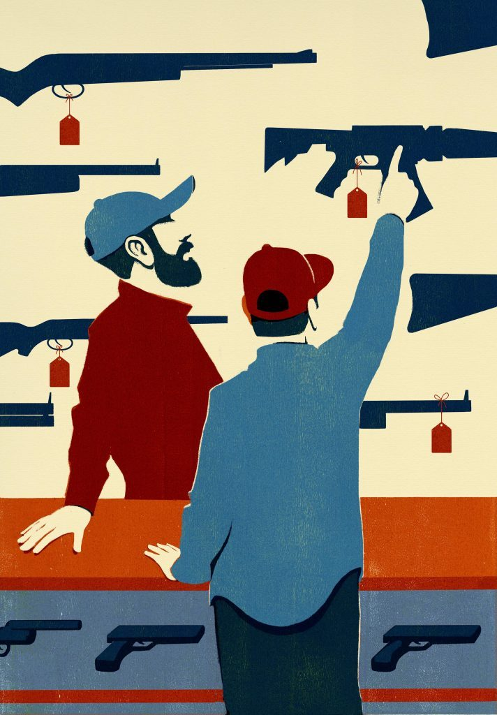 illustration by Dan Bejar or a man at a gun counter with the salesman; the customer points to the one he wants