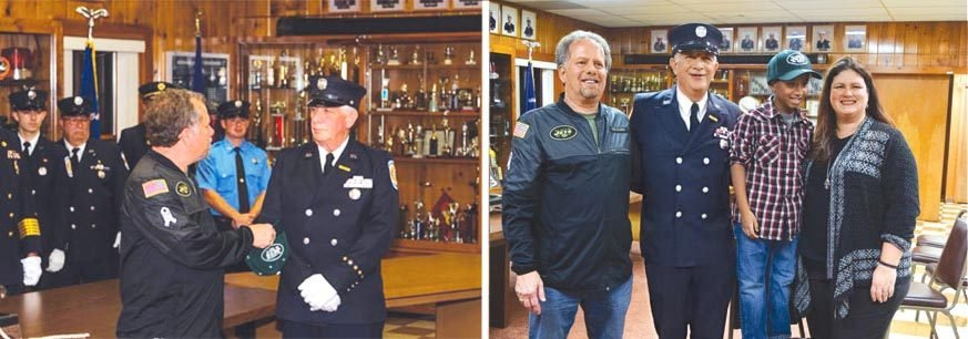 Pete DiPinto is honored at the local fire house.