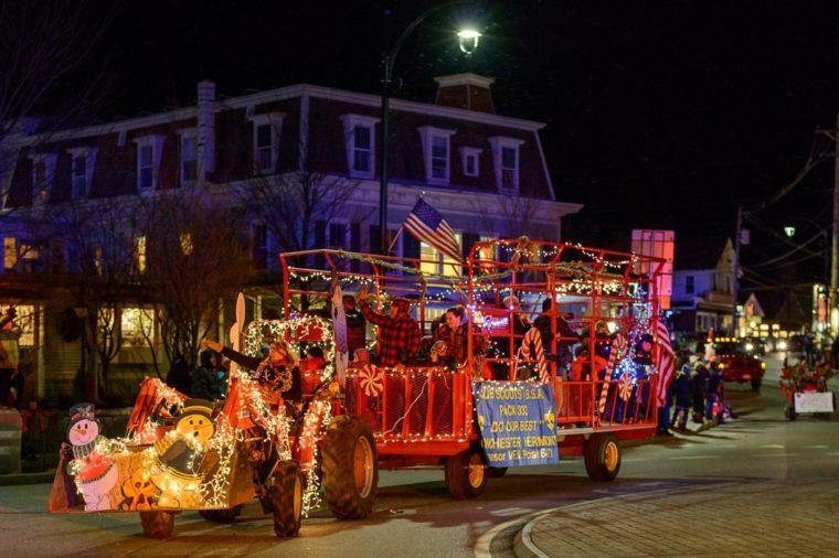 tractor parade through manchester, vermont