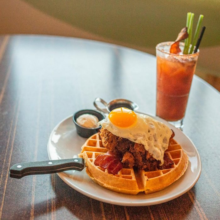 chicken and waffles with bloody mary at all day cafe south dakota