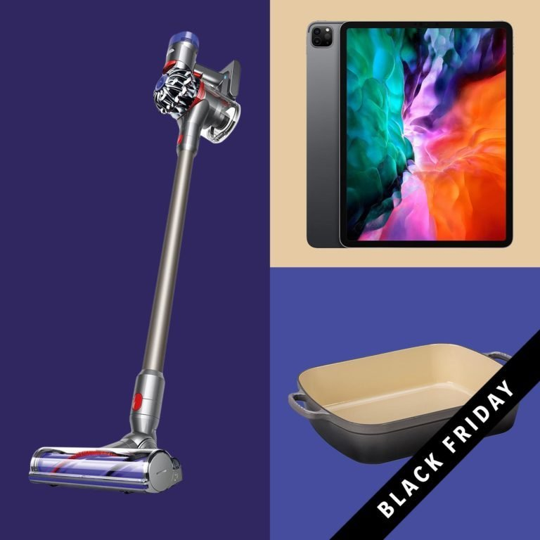 Grid of products to buy on Amazon on Black Friday: a vacuum, ipad, and roasting pan