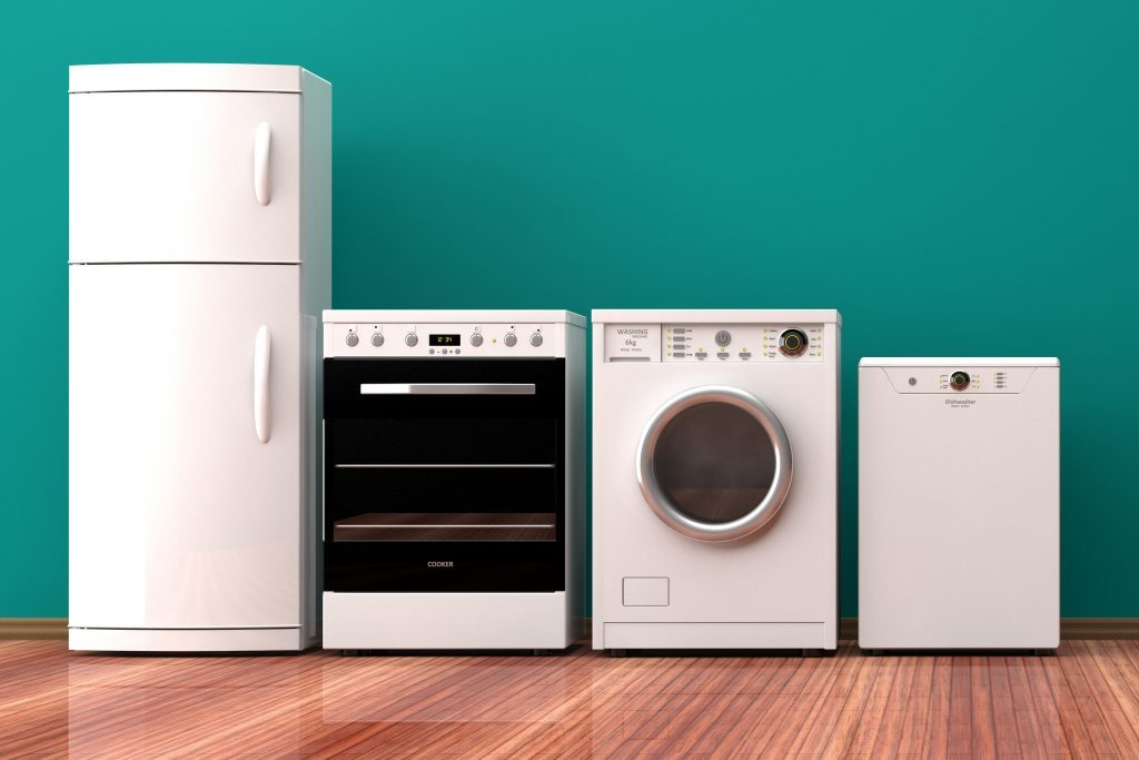 Set of electric home appliances on a wooden floor, green wall background. 3d illustration