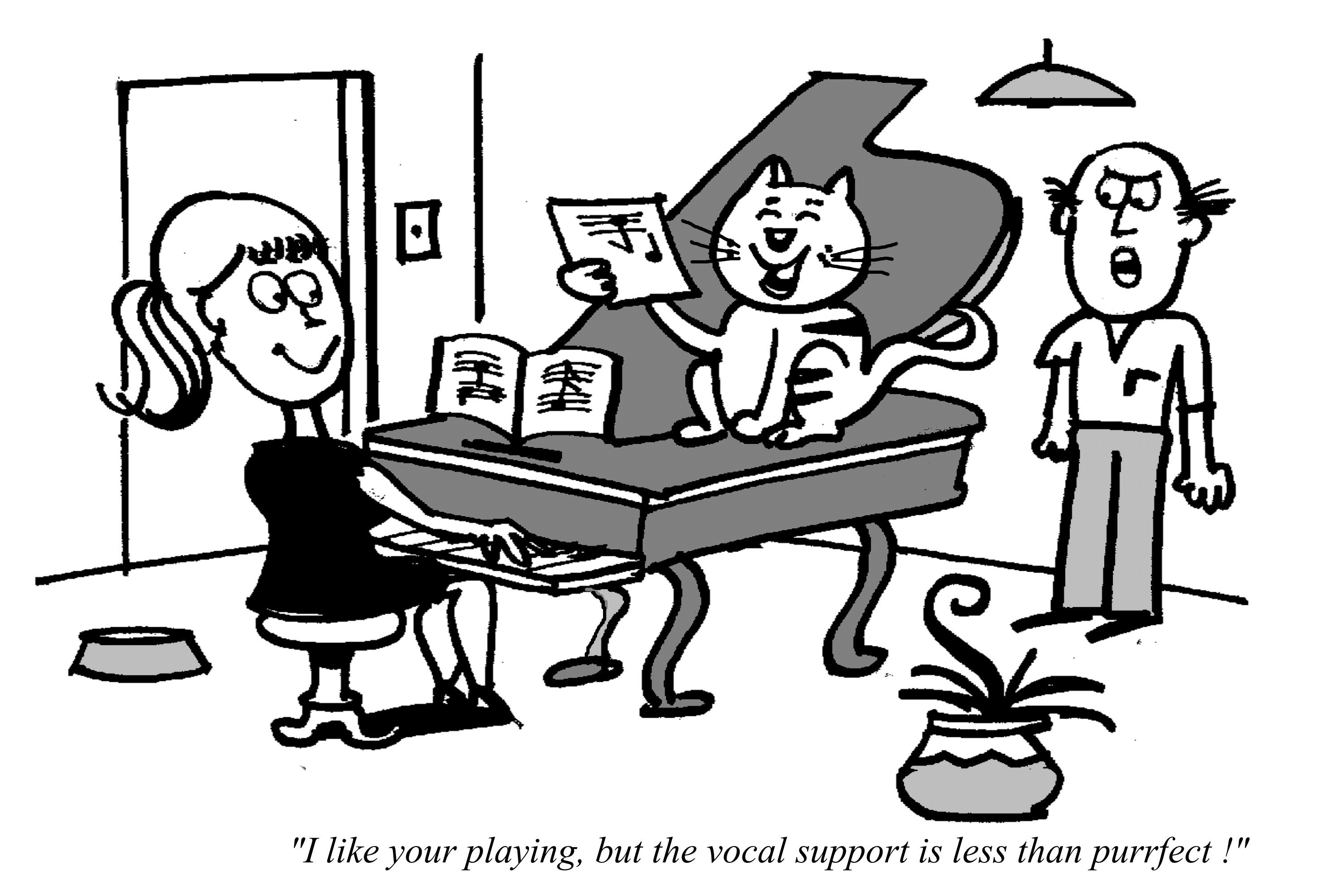 Cartoon of happy cat singing along with woman playing piano
