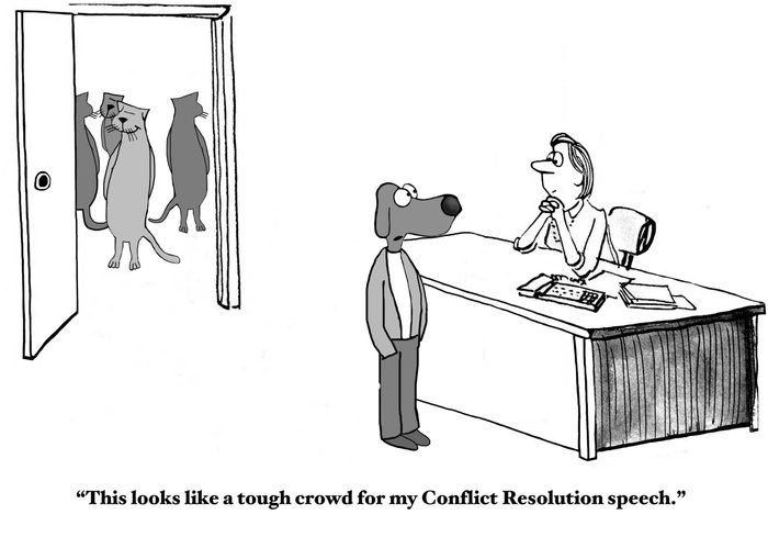 Business cartoon of business cats in background and business dog in foreground, 'This looks like a tough crowd for my Conflict Resolution speech'.