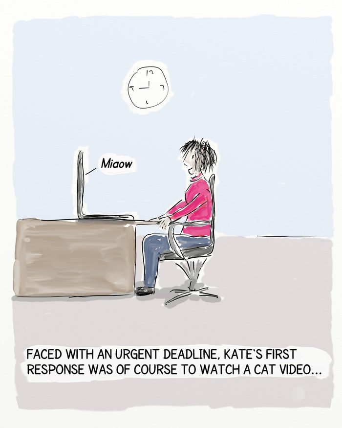 In this cartoon a woman is sitting at her desk in front of her laptop computer. The caption explains that she has an urgent deadline, so obviously has to watch a cat video first.