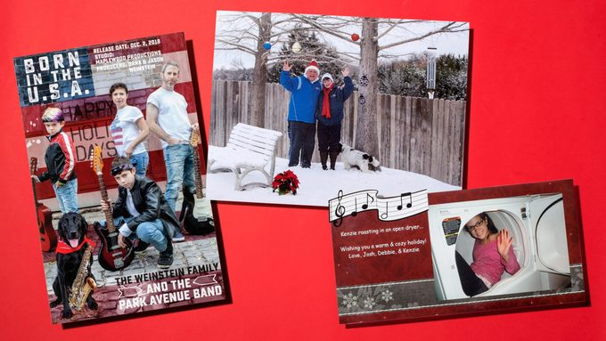 Christmas cards on red background