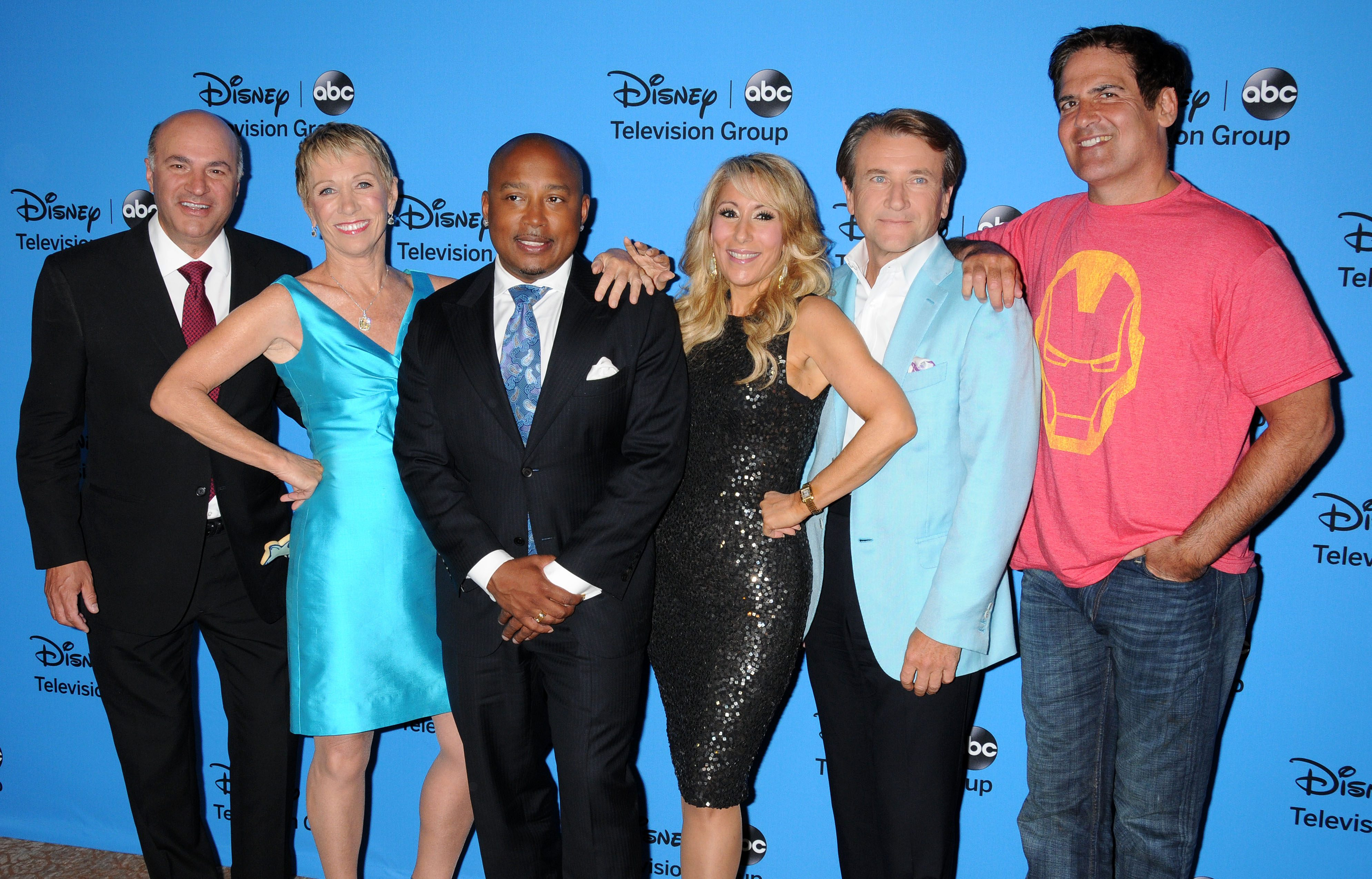 "Mandatory Credit: Photo by Broadimage/Shutterstock (2760490cz) Kevin O'Leary, Barbara Corcoran, Daymond John, Lori Greiner, Robert Herjavec, Mark Cuban, cast of ""Shark Tank"" Disney ABC Television TCA Summer Press Tour, Los Angeles, America - 04 Aug 2013"