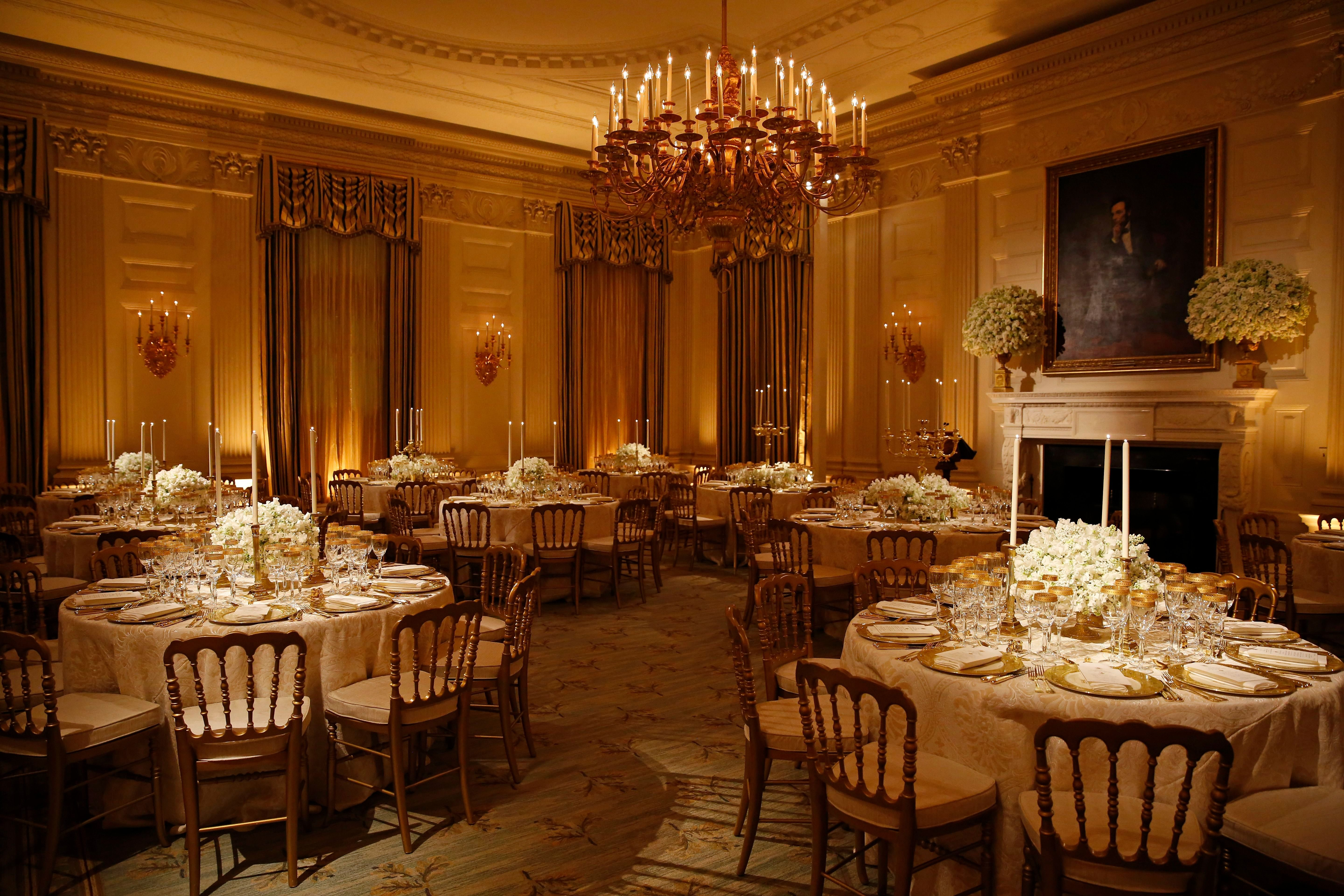 Mandatory Credit: Photo by Shutterstock (9640535v)<br /> The State Dining Room setup for tomorrow evening's State Dinner honoring President Emmanuel Macron of France and his wife, Brigitte Macron, at the White House, in Washington, DC.<br /> Donald Trump hosts Emmanuel Macron, Washington DC, USA - 23 Apr 2018