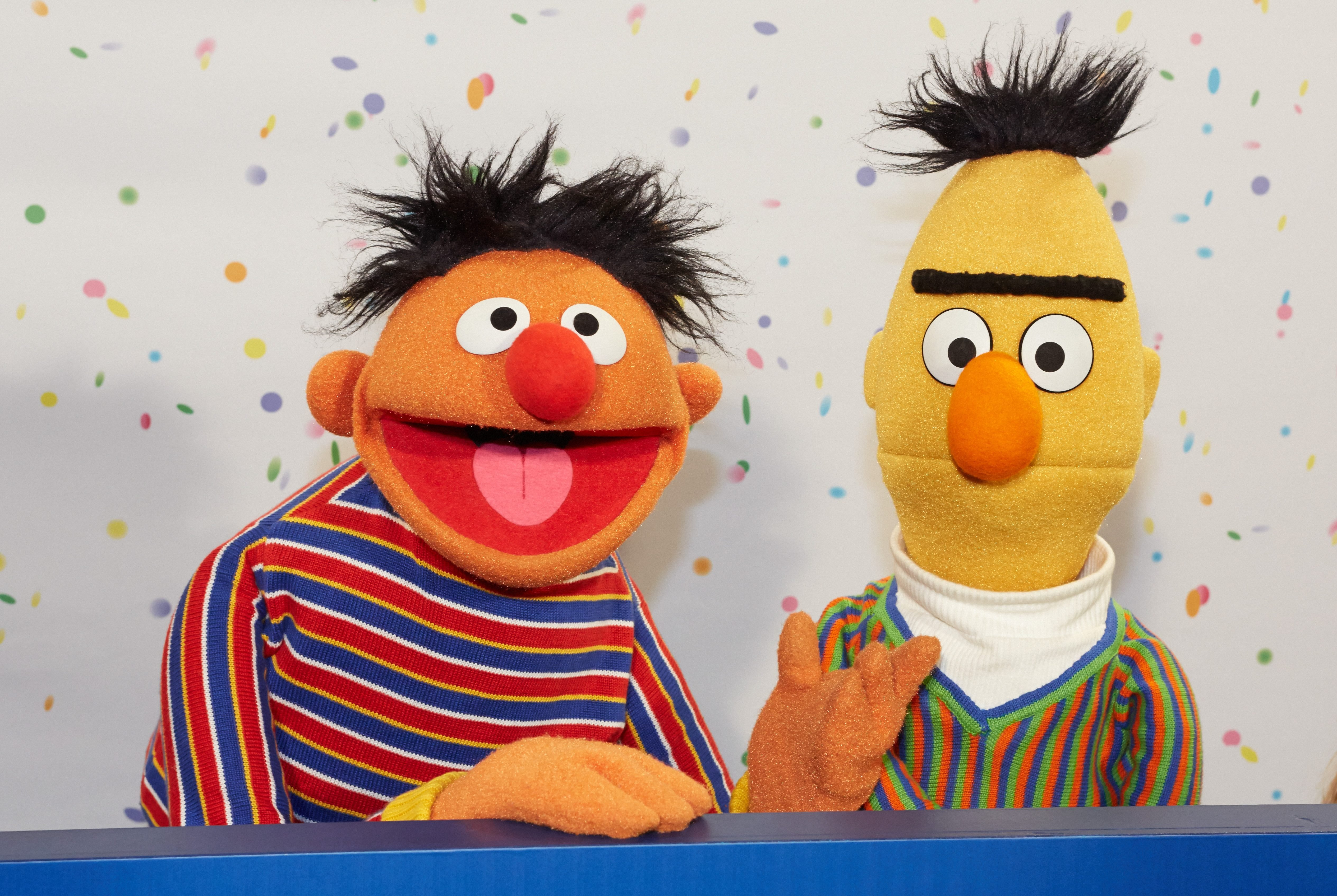 Mandatory Credit: Photo by Georg Wendt/EPA/Shutterstock (8228646a) Sesame Street Muppets Ernie and Bert Pose For Photographs During a Press Conference on the 40th Anniversary of the Sesame Street in Hamburg Germany 07 January 2013 on 08 January 1973 the Children's Television Series Sesame Street Premiered in Germany Germany Hamburg Germany Television - Jan 2013