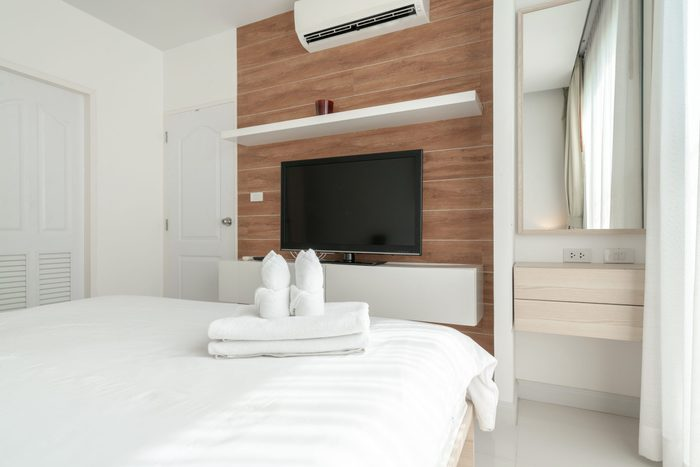 interior design television in bedroom with bright space