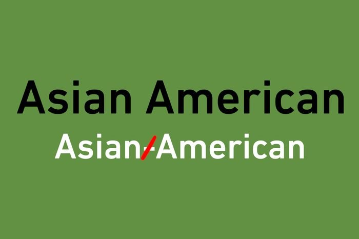 """correction illustration of crossed out hyphen in """"Asian American"""""""